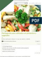 Pechuga de Pavo Salteada Con Pimientos y Vegetales Receta de Alicia Arisleyda Quiñones Feliciano - Cookpad