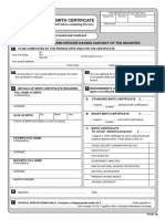 Birth Certificate Application Form
