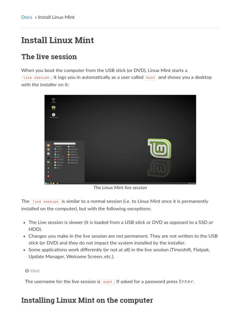 Install Linux Mint: The live session | Installation (Computer Programs) |  Hard Disk Drive