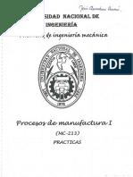 Procesos de Manufactura I - Examenes UNI