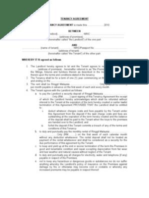 Sample Of Tenancy Agreement Leasehold Estate Landlord