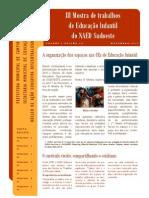 Folder III Mostra de Educação Infantil NAED Sudoeste