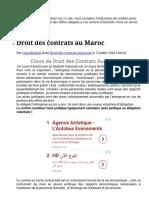 Droit Des Contrats Au Maroc - Cours de Droit