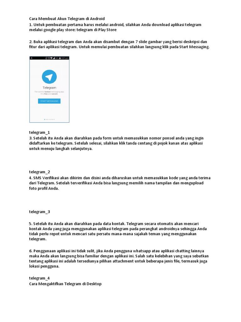 Cara Membuat Akun Telegram Di Android Docx