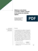 Bibliotecas Universitarias en Ecuador. Realidad y Situacion de Los Servicios de Contenidos Digitales PDF