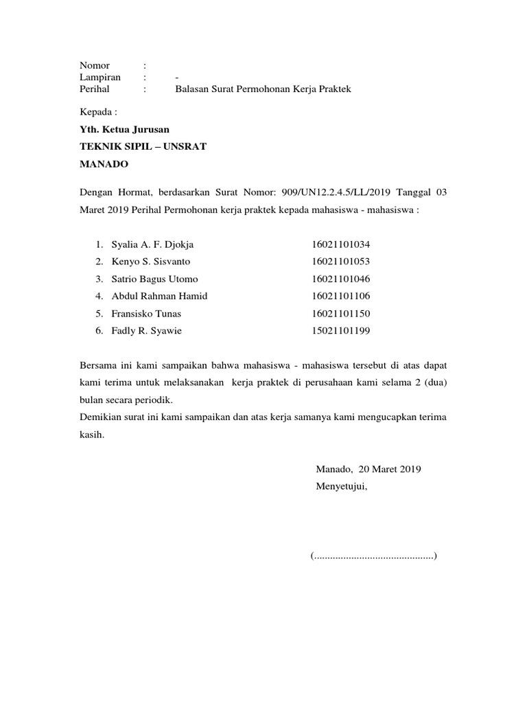 Surat Balasan Permohonan Kerja Praktek
