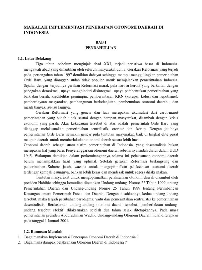 Makalah Implementasi Penerapan Otonomi Daerah Di Indonesia
