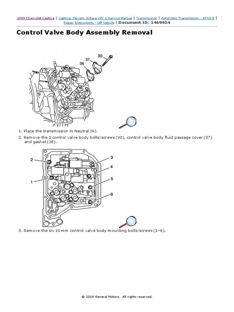 Captiva Control Valve Body Removal pdf