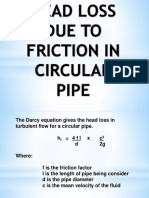 Head Loss Due to Friction in Circular Pipe