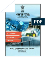 MHT-CET 2019 Engg Tech Pharmacy Pharm D