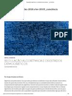 SILVEIRA, Sérgio Amadeu. Regulação Algorítmica e Os Estados Democráticos