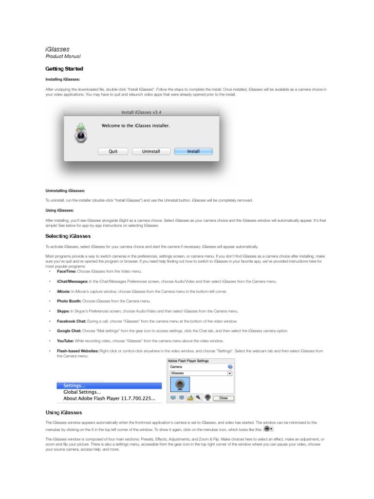 iGlasses Manual pdf | Color Balance | Exposure (Photography)