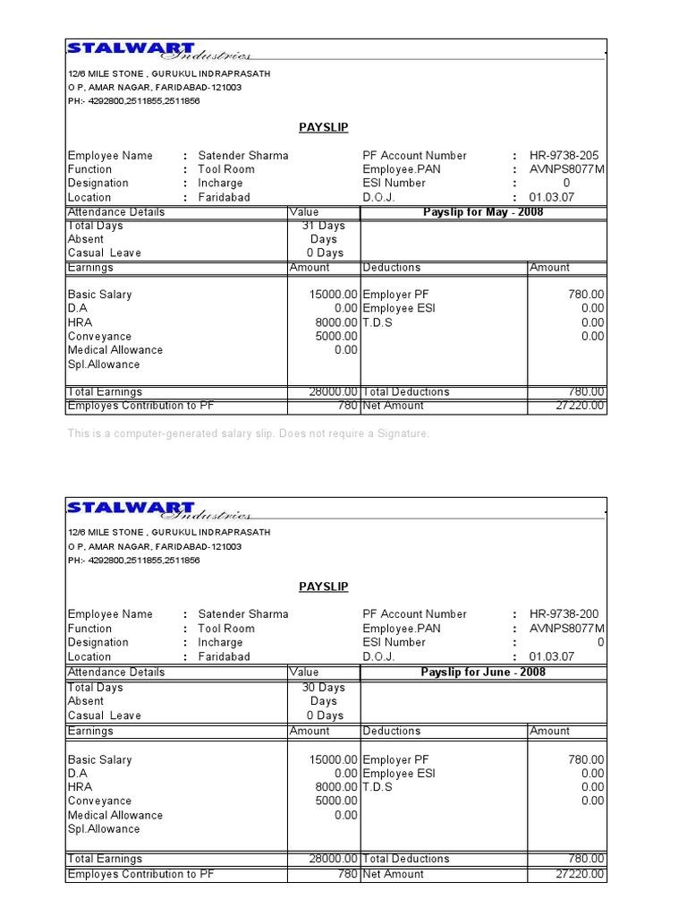 PaySlipFormat – Sample Pay Slip