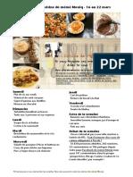 Menu de La Cuisine de Meme Moniq 16 Au 22 Mars