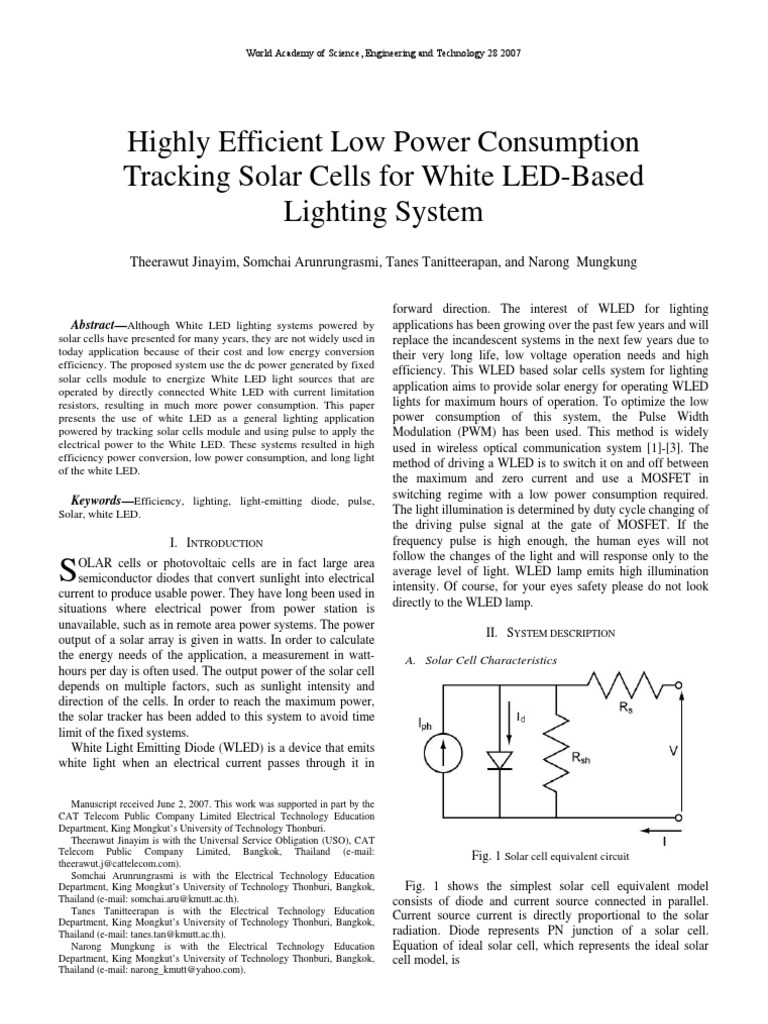 Low Power Consumption Tracking Solar Cells Light Emitting Diode Cell Parallel Circuits