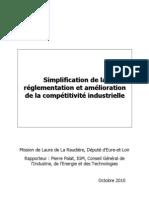 Simplification de la réglementation et amélioration de la compétitivité industrielle