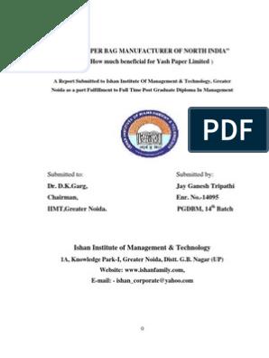 PAPER BAG MANUFACTURING   Pulp (Paper)   Paper