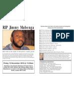 In memory of  Jimmy Mubenga