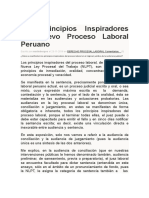 Principios Inspiradores Del Nuevo Proceso Laboral Peruano