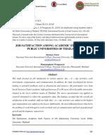 JOB SATISFACTION AMONG ACADEMIC STAFF IN THE PUBLIC UNIVERSITIES OF THAILAND