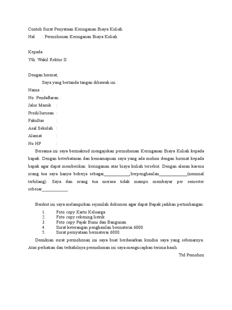 Contoh Surat Permohonan Keringanan Biaya Spp - Berbagi ...