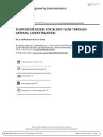 Suspension Model for Blood Flow Through Arterial Catheterization