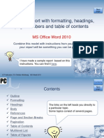Create a Report in WORD 2010