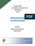 Audit Des Marchés Publics de La Théorie à La Pratique