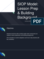 siop model  lesson prep   building background