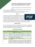 Principios de La Inclusión Para La Implementación Del Nuevo Modelo Educativo en Alumnos Con Discapacidad Intelectual y Auditiva.