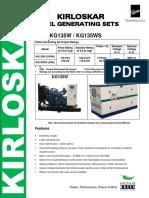 Data Sheet Kirloskar 150Kva