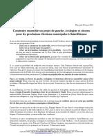 Construire ensemble un projet de gauche, écologiste et citoyen pour les prochaines élections municipales à Saint-Etienne