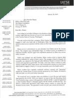 IATSE Letter to Michelle Obama