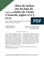 Los pueblos de indios y el abasto de leña delas ciudades de Tunja y Santafé, siglos XVI y XVII