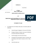 Final Claim Htc v Timber Creek March 25 2019