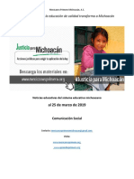 Síntesis Educativa Semanal de Michoacán al 25 de marzo de 2019
