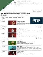 BBC Radio 3 - Schedules, Saturday 12 January 2019