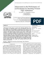 Enhance ment of heat exchangers