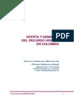 Oferta y Demanda Del Recurso Hidrico en Colombia
