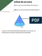 Área de superficie de un cono