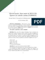 Microéconomie, 2ème année de DEUG EG - Epreuve de contrôle continu (CORRIGE)