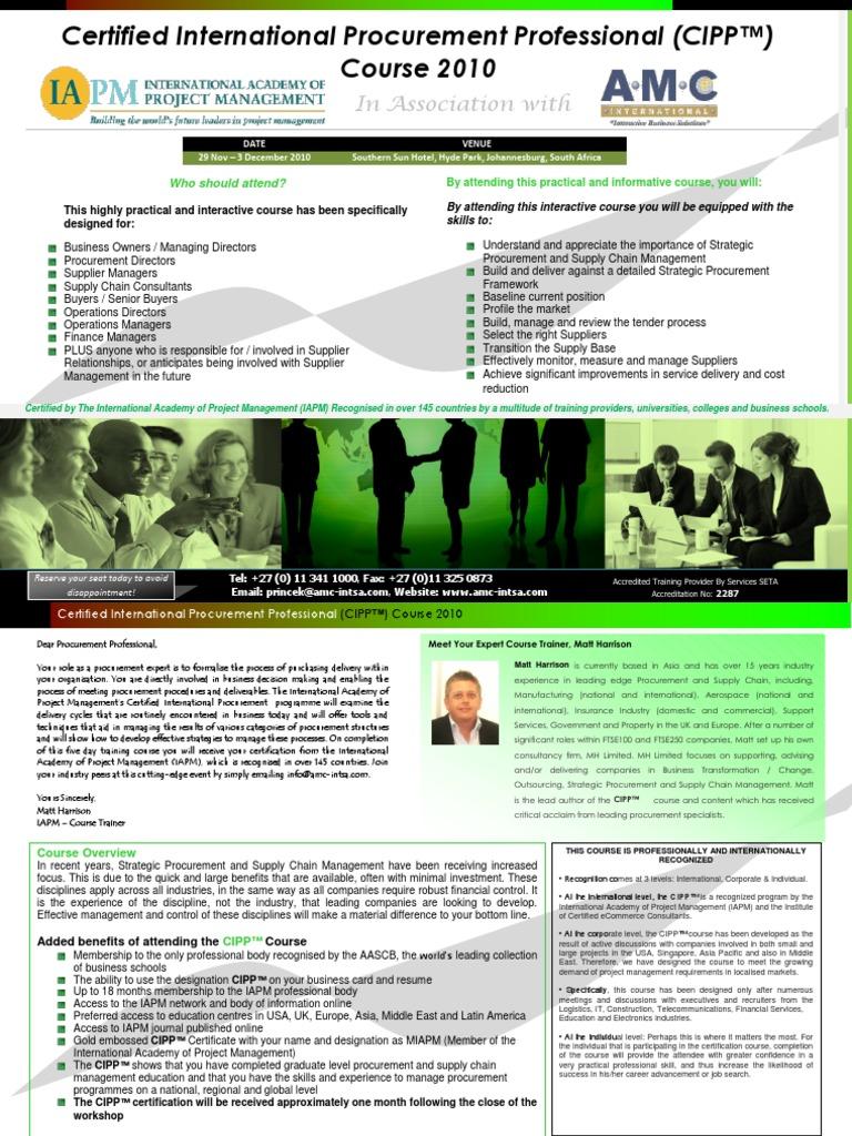 Certified International Procurement Professional 2010 Project