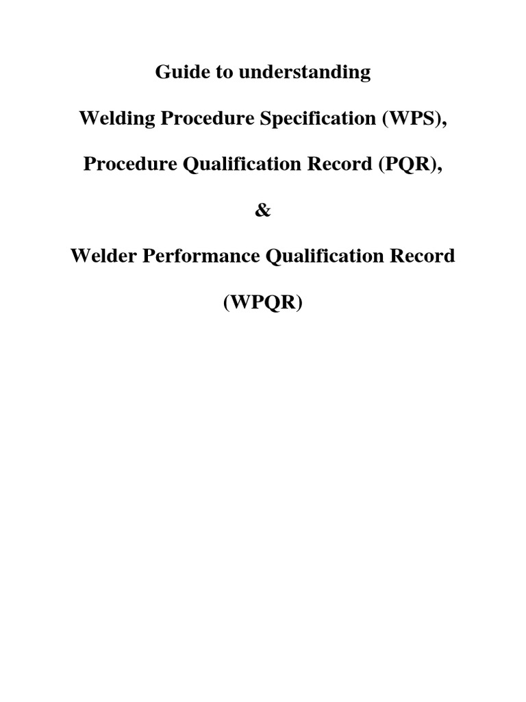 Wps wpqr welding procedure definition