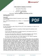 Jyoti Prakash vs Internal Appellate Committee and OR2018220618155808169COM529612