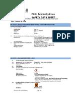 Citric Acid SDS Pestell