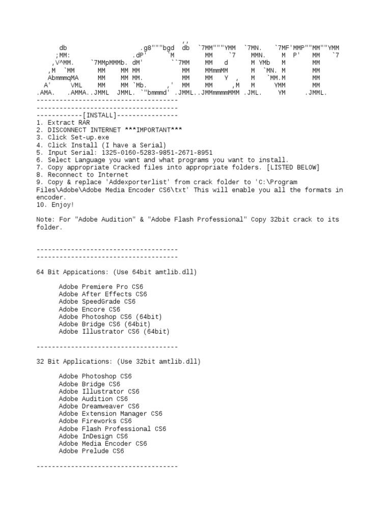 adobe after effects cs6 32 bit amtlib.dll
