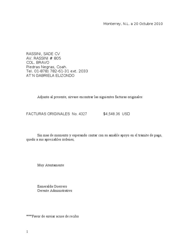 carta envio de facturas origin ales