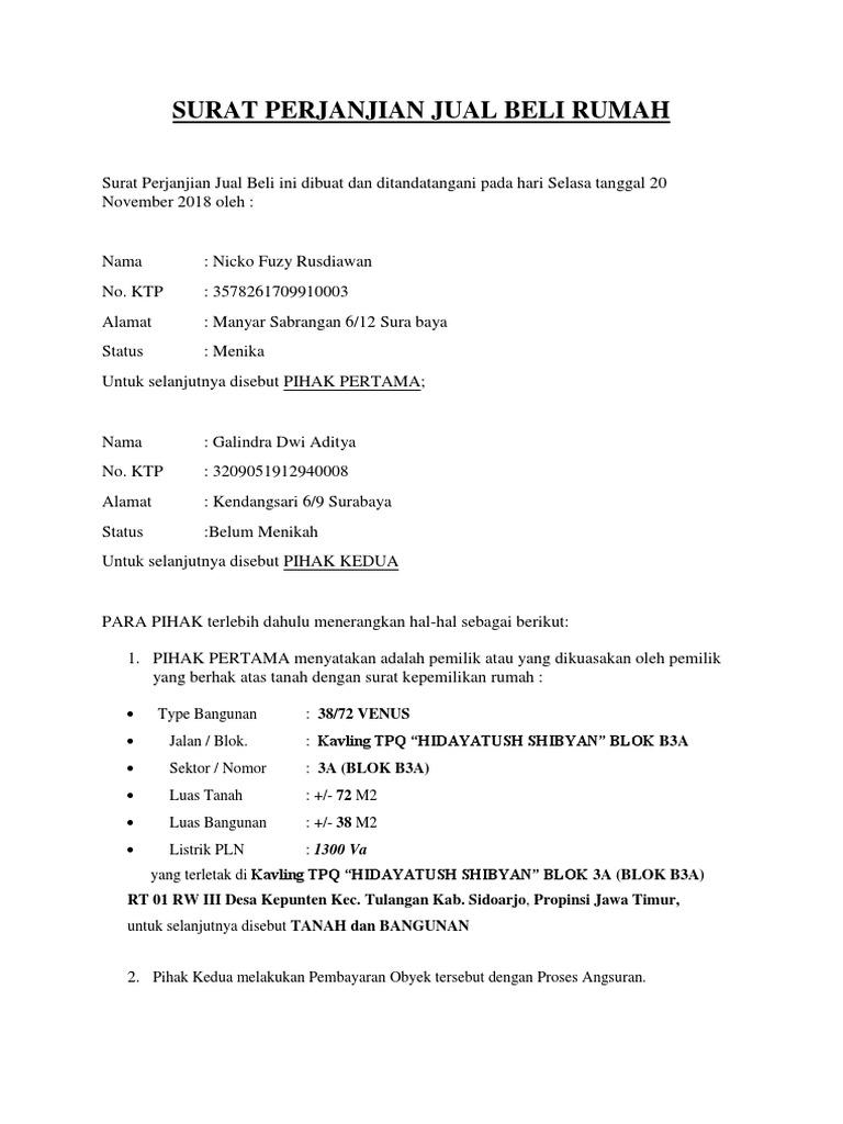 Surat Perjanjian Jual Beli Rumahdocx