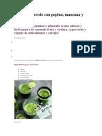 Zumo Bien Verde Con Pepino, Manzana y Hojas