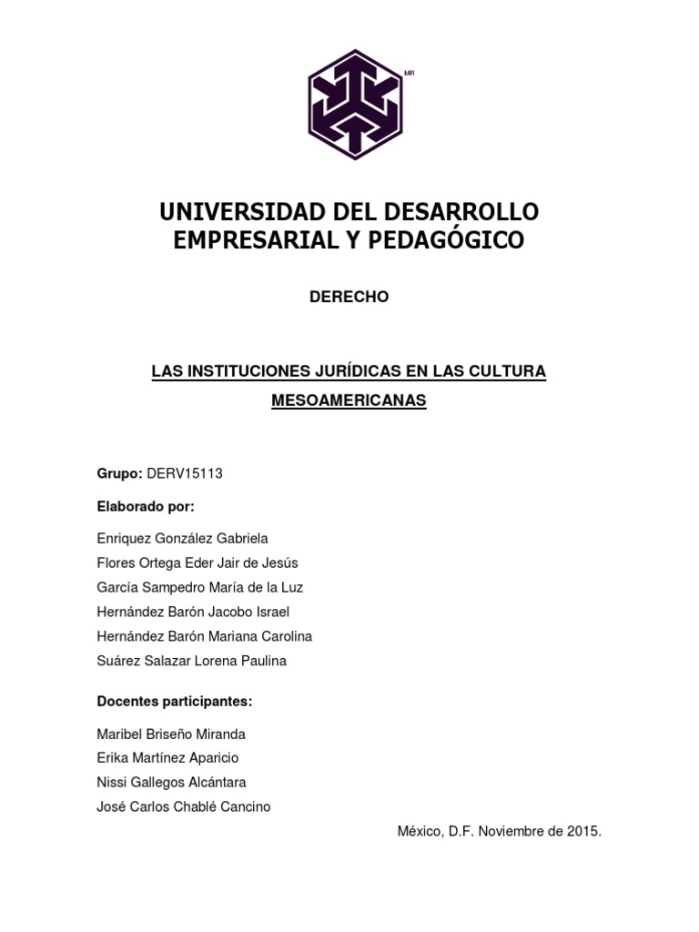 Las Instituciones Jurídicas En Las Cultura Mesoamericanas